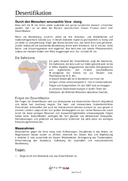 Desertifikation - mit Lösung / Natur - Mensch - Gesellschaft ...