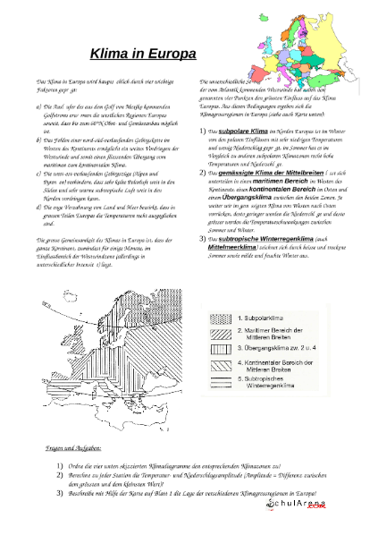 Klima in Europa / Natur - Mensch - Gesellschaft / Geographie ...