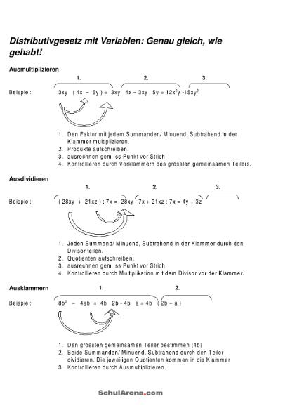 Ausmultiplizieren - Ausdividieren - Ausklammern / Mathematik ...