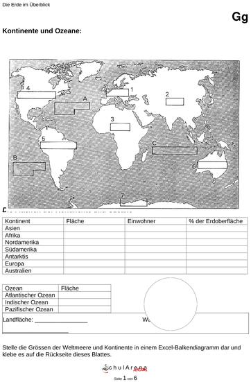 Die Erde - Kontinente und Ozeane - mit Lösung / Natur - Mensch ...