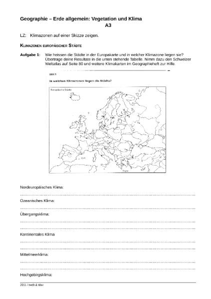 Klimazonen europäischer Städte / Natur - Mensch - Gesellschaft ...