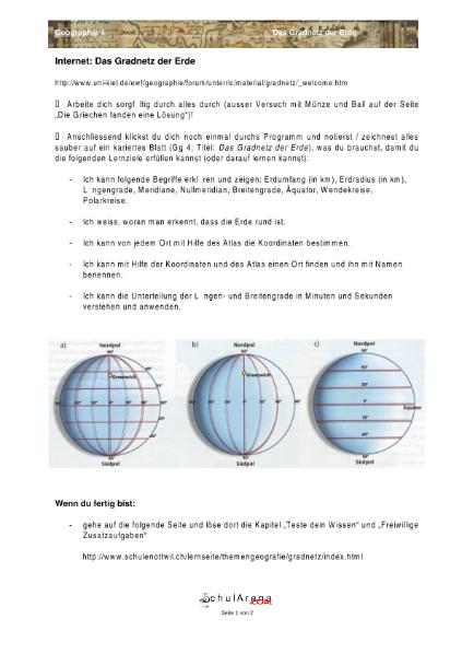 das Gradnetz der Erde - Lösungen zu den Lernz / Natur - Mensch ...