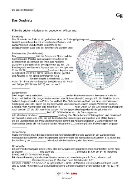 Das Gradnetz der Erde / Natur - Mensch - Gesellschaft / Geographie ...