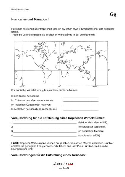 Hurricanes und Tornados - mit Lösung / Natur - Mensch - Gesellschaft ...