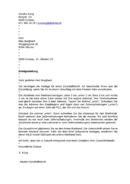 Bewerbung Geschäftsbrief Muster Linksbündig Sprachen Deutsch