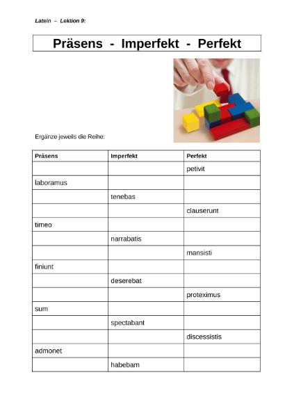 Präsens-Imperfekt-Perfekt / Sprachen / Latein / SchulArena.com ...