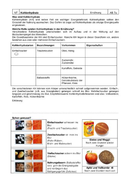 Kohlenhydrate / Natur - Mensch - Gesellschaft / Biologie ...