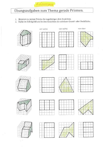 Aufriss Zeichnen gerade prismen vom raumbild zum aufriss grundriss und seitenriss