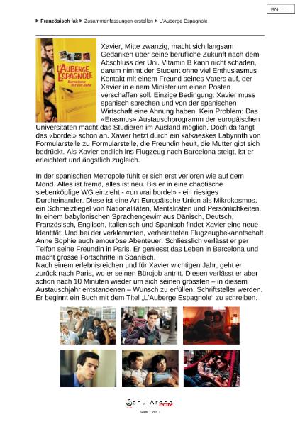 vorschau filmbetrachtung zusammenfassung auberge espagnole 1doc - Zusammenfassung Franz Sisch