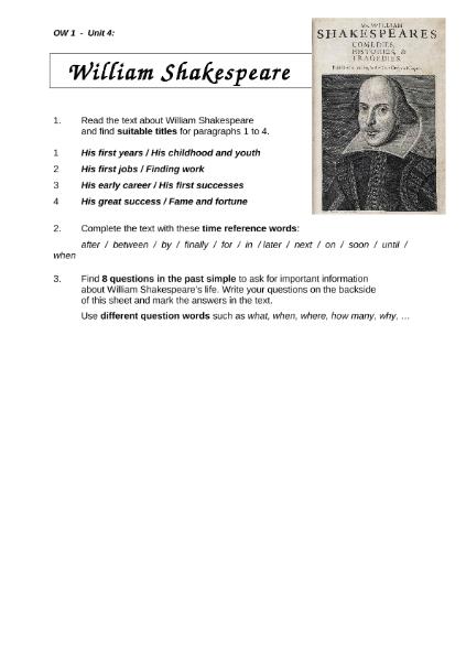 Biography - William Shakespeare / Sprachen / Englisch / SchulArena ...