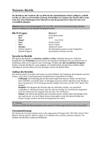 vorschau textsorte berichtdocx - Textsorte Zusammenfassung