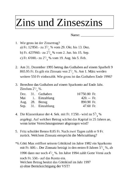 Wunderbar Zins Und Zinseszins Arbeitsblatt Bilder - Arbeitsblatt ...