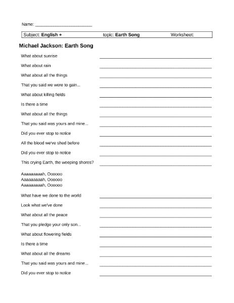Michael Jackson - Earth Song / Sprachen / Englisch / SchulArena.com ...