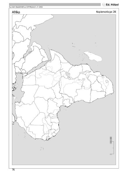 Stumme Karte Afrika.Die Subtropen Natur Mensch Gesellschaft Geographie