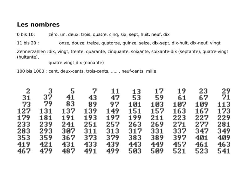 les nombres de 0 à 1000 - Répétition / Sprachen / Französisch ...