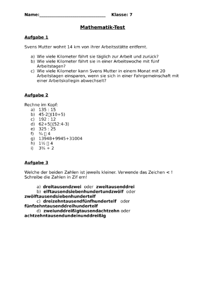 Repetitionstest Klasse 7 / Mathematik / Algebra u. Arithmetik ...