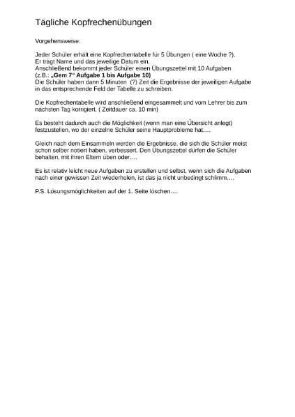 Kopfrechnen / Mathematik / Algebra u. Arithmetik / SchulArena.com ...
