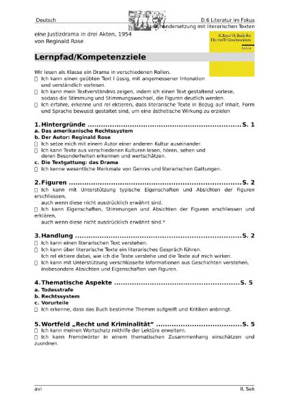 Die zwölf Geschworenen (Reginald Rose) / Sprachen / Deutsch ...