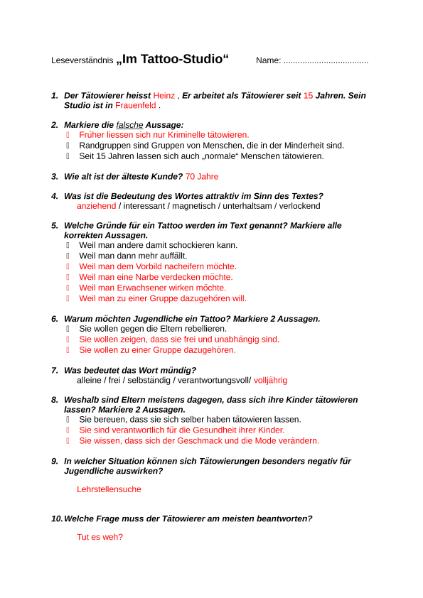 Leseverständnis Tattoos / Sprachen / Deutsch / SchulArena.com ...