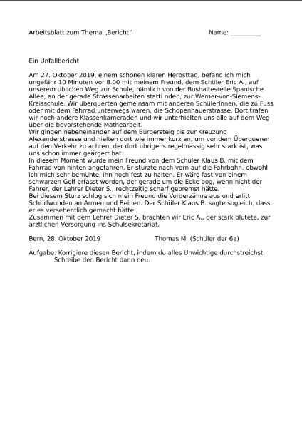Unfallbericht Schreiben Sprachen Deutsch Schularena