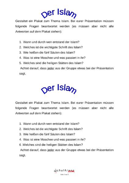 Gruppenarbeit Weltreligionen / Natur - Mensch - Gesellschaft / EGR ...