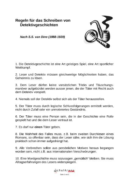 Regeln Für Das Schreiben Von Detektivgeschichten Sprachen