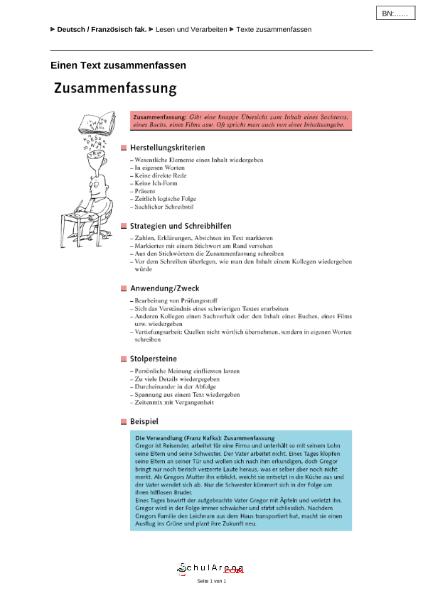 Eine Zusammenfassung Schreiben Sprachen Deutsch Schularenacom