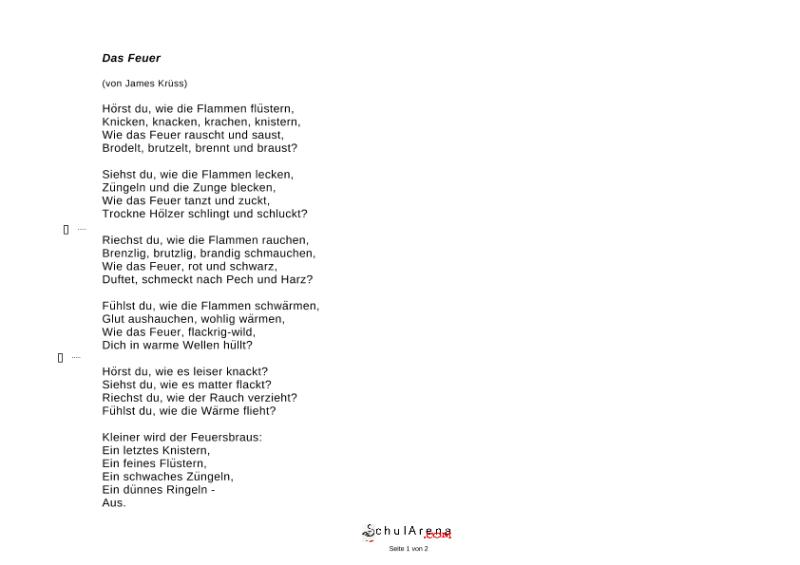 Gedicht über feuer
