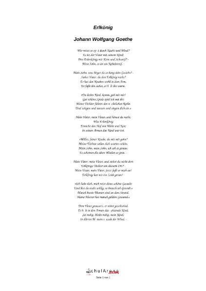 Gedicht der erlkönig