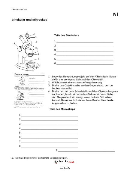 Binokular und Mikroskop / Natur - Mensch - Gesellschaft / Biologie ...