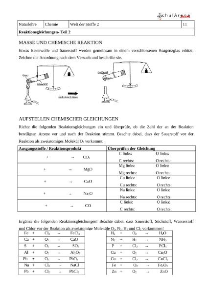 Schön Chemische Gleichung Arbeitsblatt Fotos - Arbeitsblatt Schule ...