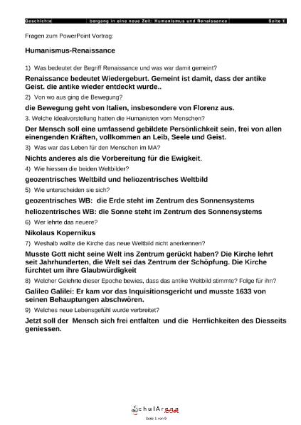 Humanismus und Renaissance / Natur - Mensch - Gesellschaft ...