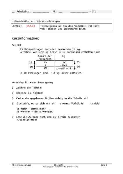 Schlussrechnung - direktes Verhältnis / Mathematik / Algebra u ...