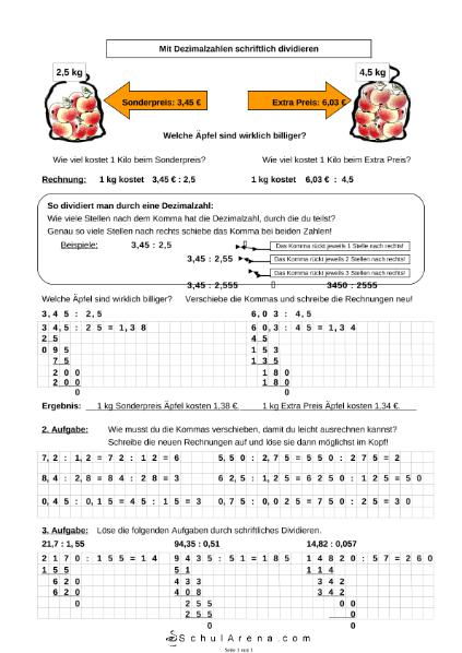 Mit Dezimalzahlen schriftlich dividieren / Mathematik / Algebra u ...