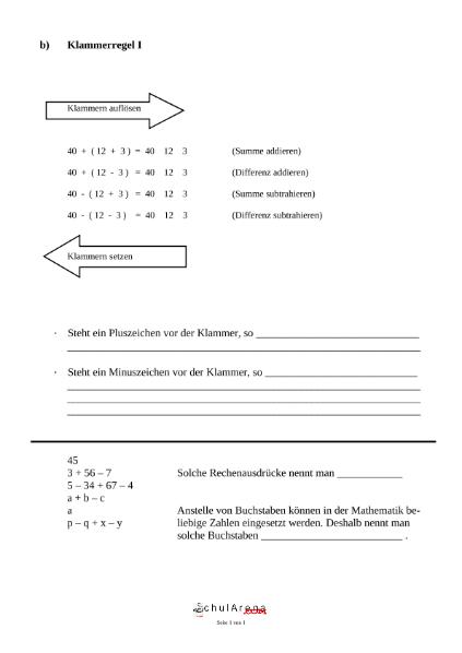 Klammerregel / Mathematik / Algebra u. Arithmetik / SchulArena.com ...