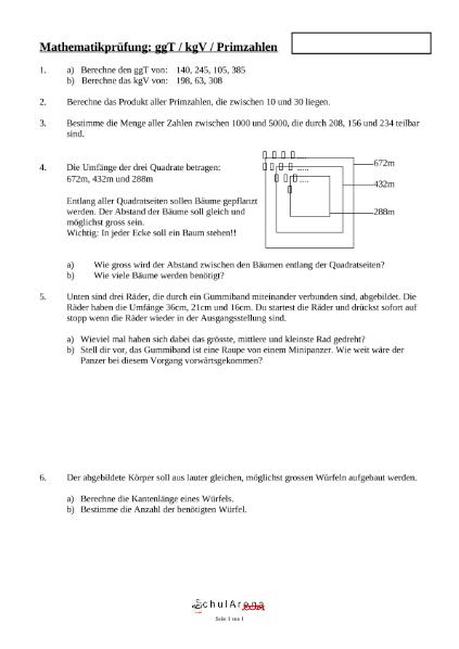 ggT kgV Primzahlen / Mathematik / Algebra u. Arithmetik / SchulArena ...