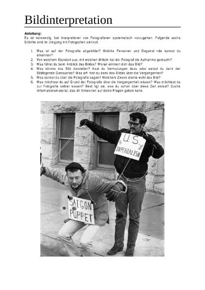 Bildinterpretation Proteste Vietnamkrieg / Natur - Mensch ...